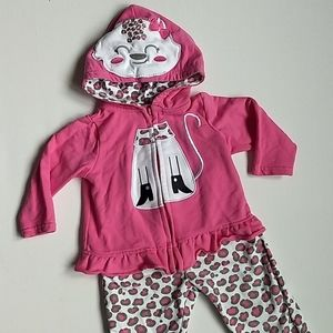 Cat Leopard Print Pink Outfit * Size 12 months